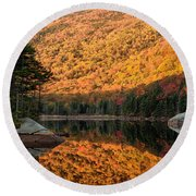 Peak Fall Foliage On Beaver Pond Round Beach Towel by Jeff Folger