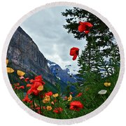 Peaks And Poppies Round Beach Towel
