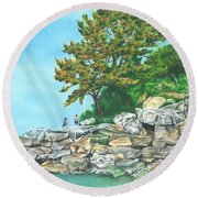 Peaks Island Round Beach Towel by Troy Levesque