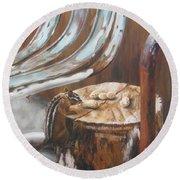 Round Beach Towel featuring the painting Peanuts by Lori Brackett