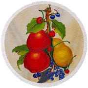 Pear And Apples Round Beach Towel
