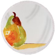 Pear In Autumn Round Beach Towel by Frank Bright