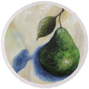 Pear In The Spotlight Round Beach Towel