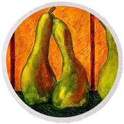 Pear Whimsy Round Beach Towel