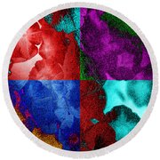 Pearlescent Posies Round Beach Towel