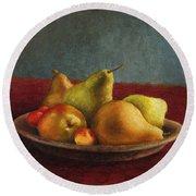 Pears And Cherries Round Beach Towel