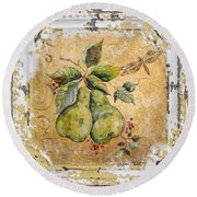Pears And Dragonfly On Vintage Tin Round Beach Towel by Jean Plout
