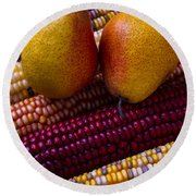 Pears And Indian Corn Round Beach Towel