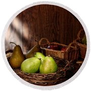 Pears At The Old Farm Market Round Beach Towel
