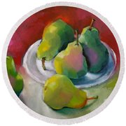 Pears Round Beach Towel by Michelle Abrams