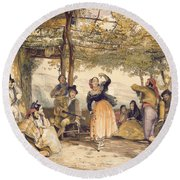 Peasants Dancing The Bolero Round Beach Towel