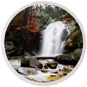 Peavine Falls In Autumn Round Beach Towel by Shelby  Young