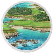Pebble Beach 15th Hole-south Round Beach Towel