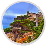 Pebble Beach Ca Round Beach Towel by Richard J Cassato