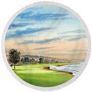 Pebble Beach Golf Course 18th Hole Round Beach Towel