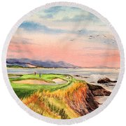 Pebble Beach Golf Course Hole 7 Round Beach Towel