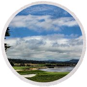 Pebble Beach - The 18th Hole Round Beach Towel by Judy Vincent