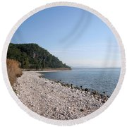 Round Beach Towel featuring the photograph Pebbled Beach by Tracey Harrington-Simpson