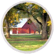 Round Beach Towel featuring the photograph Pecan Orchard Barn by Gordon Elwell