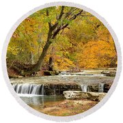 Round Beach Towel featuring the photograph Pedelo Falls by Deena Stoddard