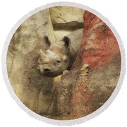 Peek A Boo Rhino Round Beach Towel by Thomas Woolworth