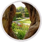 Round Beach Towel featuring the photograph Peek At The Garden by Vicki Spindler