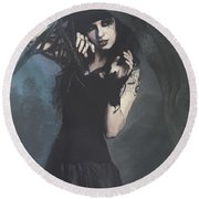 Peek Gothic Scene Round Beach Towel by Galen Valle