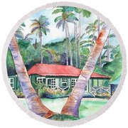 Peeking Between The Palm Trees 2 Round Beach Towel