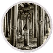 Peeking Under The Pier By Diana Sainz Round Beach Towel