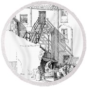 Round Beach Towel featuring the drawing Peel Back Street by Paul Davenport