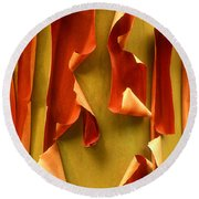 Round Beach Towel featuring the photograph Peeling Bark Pacific Madrone Tree Washington by Dave Welling