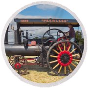 Peerless Steam Traction Engine Round Beach Towel