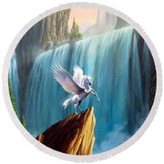 Pegasus Kingdom Round Beach Towel