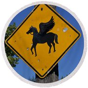 Pegasus Road Sign Round Beach Towel