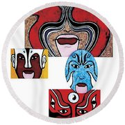Round Beach Towel featuring the painting Peking Opera No.1 by Fei A