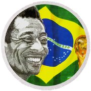 Pele Round Beach Towel by Cory Still