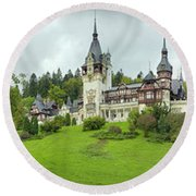 Peles Castle In The Carpathian Round Beach Towel by Panoramic Images