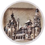 Peles Castle Romania Drawing Round Beach Towel