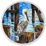 Pelican And Pilings Round Beach Towel