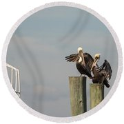 Pelican Buddies Round Beach Towel by John M Bailey