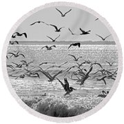 Pelican Chaos Round Beach Towel by Betsy Knapp