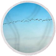 Pelican Flight Line Round Beach Towel