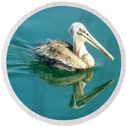 Round Beach Towel featuring the photograph Pelican In San Francisco Bay by Clare Bevan