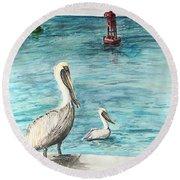 Pelican Round Beach Towel