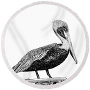 Pelican Of Monterey Round Beach Towel by Jack Pumphrey