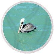 Round Beach Towel featuring the photograph Pelican by Oksana Semenchenko