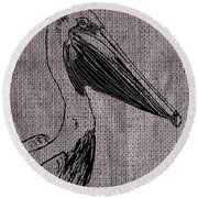 Pelican On Burlap Round Beach Towel