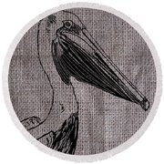 Pelican On Burlap Round Beach Towel