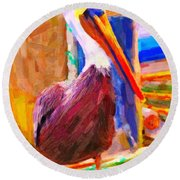 Pelican On The Dock Round Beach Towel