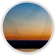 Round Beach Towel featuring the photograph Pelican Parade by Lora Lee Chapman